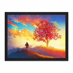 Illustration Painting Colourful Sunrise Red Framed Art Print Poster 18x24 Inches