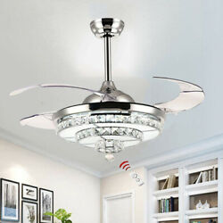 42quot; Crystal Invisible Ceiling Fan Light Remote Control Home Chandelier Lamp $162.79