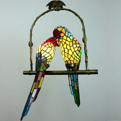 Pendant Hanging Lamp Glass 2 Parrots Stained Rural Ceiling Chandelier Light New $206.99