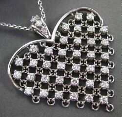 ANTIQUE EXTRA LARGE 1..50CT DIAMOND 14KT WHITE GOLD FLOATING HEART PENDANT #844