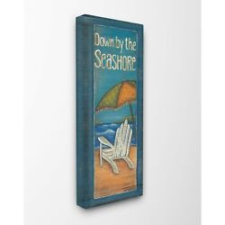 Down by the Seashore Adirondack Chair Illustration Stretched Canvas Wall Art -