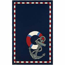 Couristan Outdoor Escape Anchors Away Navy Indoor Outdoor Rug - 8' X 11'