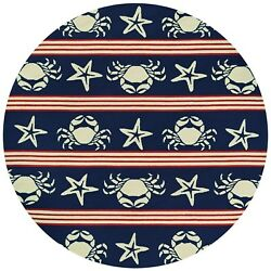 Outdoor Escape Blue Claws Red-White-Navy Round IndoorOutdoor Rug - 7'10