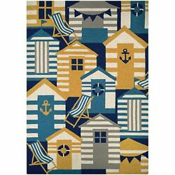 Couristan Outdoor Escape Beach Hut Navy-multi Indoor Outdoor Rug - 8' X 11'