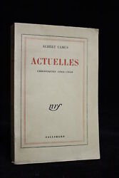 Albert CAMUS Actuelles Chroniques 1944-1948 FIRST EDITION NUMBERED 1950