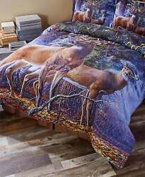 1-PC KING COMFORTER BLANKET COLD SNAP DEER LODGE LOG CABIN BEDROOM DECOR