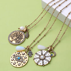 Crystal Pave Three of Life Round Disc Pendant Choker Necklace for Women Jewelry