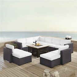 Biscayne 8 Piece Outdoor Wicker Seating Set with Mocha Cushions