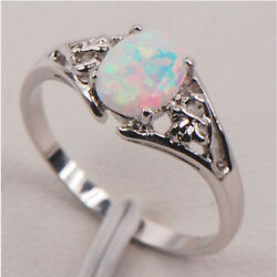 925 Sterling Silver White Fire Opal Gemstone Lady Jewelry Ring Size 6 7 8 9 NEW