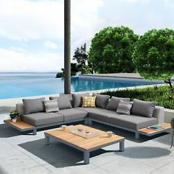 Armen Living Polo 4 piece Outdoor Sectional Set with Dark Gray Cushions and