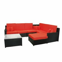 8-Piece Black Resin Wicker Outdoor Furniture Sectional Sofa  Table and Ottoman