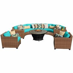 Bayou 8-piece Wicker Rounded Outdoor Patio Sectional with Armchairs and Fire