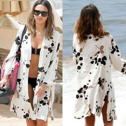 Women Floral Kimono Swimwear Beach Cardigan Bikini Cover Up Beach Dress Sarong $17.38
