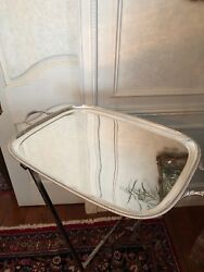 Antique 19th  English Sheffield Silver Plate Tray w Butler's Stand Barker Bros.