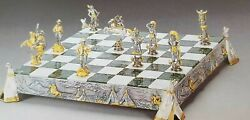 PIERO BENZONI Indians & Cowboys Gold and Silver  Chess Set