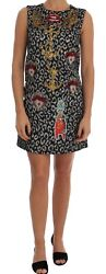 NWT $6500 DOLCE & GABBANA Dress Leo Jaquard Crystal Embellished IT 44US 10 L