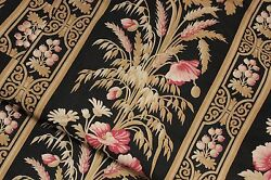 Antique Fabric Black French finely woven linen amp; cotton wheat amp; floral material $75.00