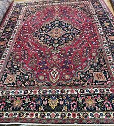 "Hard-to-Find Color! Gorgeous Deep-Pink on Navy 8'2""x10'5"" Antique Persian Rug"