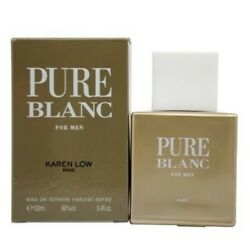 Pure Blanc by Karen Low 3.4 oz EDT Cologne for Men New In Box