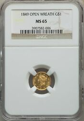 1849 US Gold $1 Liberty Head - NGC MS65