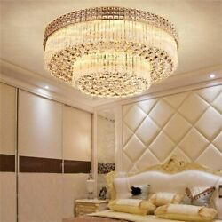 2 Layers K9 Crystal LED Chandeliers Remote Control Pendant Ceiling Lights 60cm