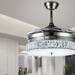 36quot; Silver Crystal Invisible Ceiling Fan Light Chandelier Dining Room Muted Fan $172.79