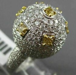 EXTRA LARGE 3.50CT WHITE & INTENSE YELLOW DIAMOND 18KT WHITE GOLD PAVE DOME RING