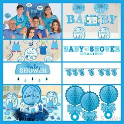 BABY SHOWER Decorations Blue Boy Party Supplies Banner Backdrop Room Wall Kits $14.25