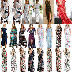 Womens Boho Floral Casual Long Maxi Flared Dress Evening Party Beach Sun Dresses $22.70