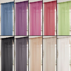 Tonys Textiles Lucy Solid Window Sheer Curtain Panel Rod Pocket - 11 colors $8.99