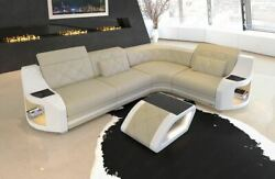 Leather corner sofa Columbia L shape with LED lighting