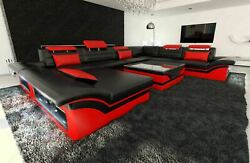 Big Sectional Sofa Atlanta XL Shape Leather Couch LED Lights - colour selection