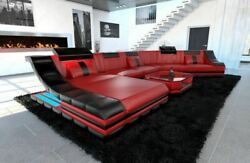 Sectional Corner Sofa New York CL Shape with LED lights Leather Luxury Design