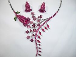 FUCHSIA DROP FLOWER NECKLACE amp; EARRING SET MADE With SWAROVSKI PARTS $40.30
