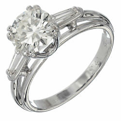 Vintage 1.51ct European Ideal Diamond Baguette 14k White Gold Wire Setting Ring