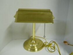 Brass Desk Bankers Lamp Piano Student Jeweler Adjustable Shade Pull String OnOff $44.95