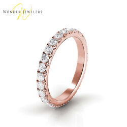 3.2ctw Round Diamond French Pave Set Eternity Band 14K Rose Gold (G-HVS2)
