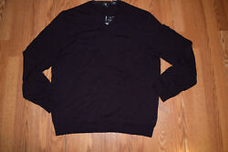 NWT Mens CALVIN KLEIN Dark Chestnut Maroon Merino Wool V-Neck Sweater Sz Medium