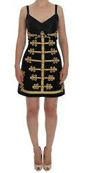 Dolce & Gabbana Black Wool Stretch Gold A-Line Dress