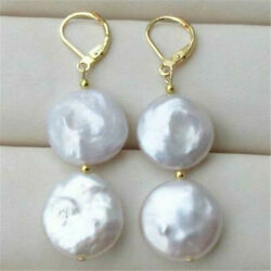 HUGE 14-15MM BAROQUE WHITE DANGLE PEARL Earrings 14K YELLOW GOLD Cultured