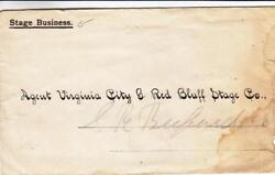 186X Virginia City amp; Red Bluff Stage Co. MT Terr. See Remark 24372 $49.95