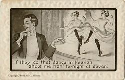 Antique Postcard Sign of the Times Nightlife and Humor! C. Hobson  B