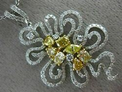 ESTATE EXTRA LARGE 1.93CT WHITE & FANCY YELLOW DIAMOND 18KT 2 TONE GOLD PENDANT