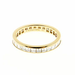 Vintage Tiffany & Co 18k Yellow Gold 1.70ct Channel Diamond Eternity Band Ring