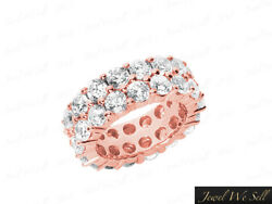 5.70Ct Round Diamond 2Row Staggered Eternity Band Ring 14k Rose Gold H SI2 Prong