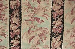 Antique Fabric French 110 inches LONG black amp; teal parrot bird motif cotton $120.00