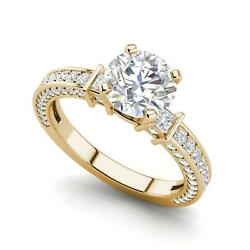 Three Sided Pave 3.35 Carat VS2D Round Cut Diamond Engagement Ring Yellow Gold