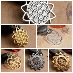 5X Gold Plated Hollow Carved Flower Of Life Charms Pendants for Necklace Jewelry