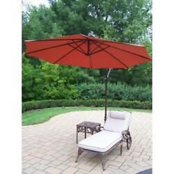 Oakland Living 3 Piece Outdoor Chaise Lounge with Cushion. Table and Burnt Orang