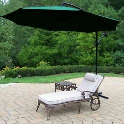 Oakland Living 3 Piece Outdoor Chaise Lounge with Cushion. Table and Green Canti